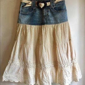Candie's Girls denim and eyelet skirt